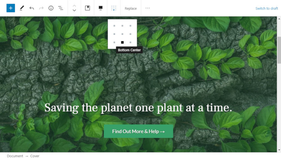 gutenberg-cover-inner-alignment Gutenberg 8.2 Includes Editing Flow Improvements, Cover Block Content Positioning, and Pattern Categories design tips