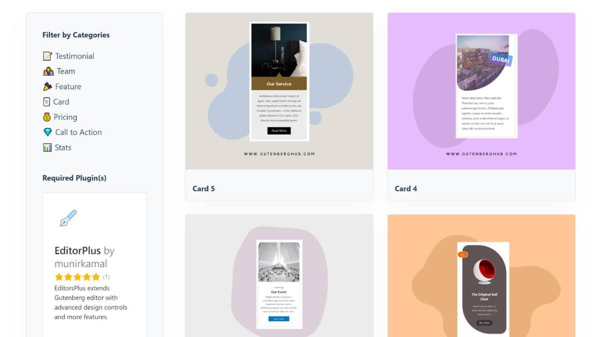 gutenberg-hub-block-directory-featured Copy and Paste Editor Blocks via GutenbergHub's Block Library design tips