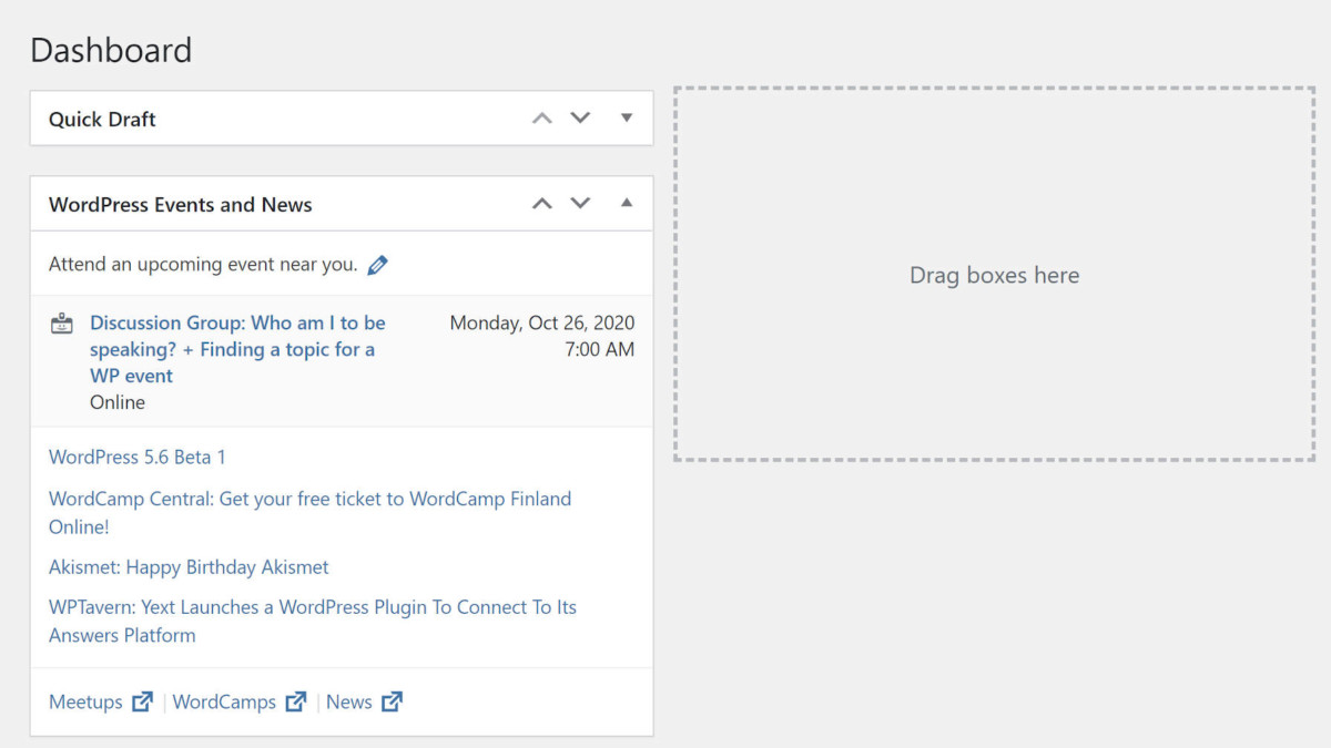 wp-dashboard-meta-box-zone Dragging and Dropping Meta Boxes Might Not Be So Simple in WordPress 5.6 design tips