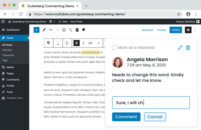 gutenberg-block-comment-reply-770x500 New Plugin Adds Google-Doc Style Commenting to Gutenberg Blocks design tips
