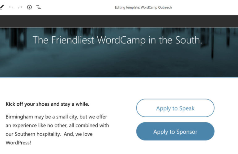 fse-outreach-6-featured-770x500 FSE Outreach Round #6: Building a WordCamp Landing Page via the Template Editor design tips