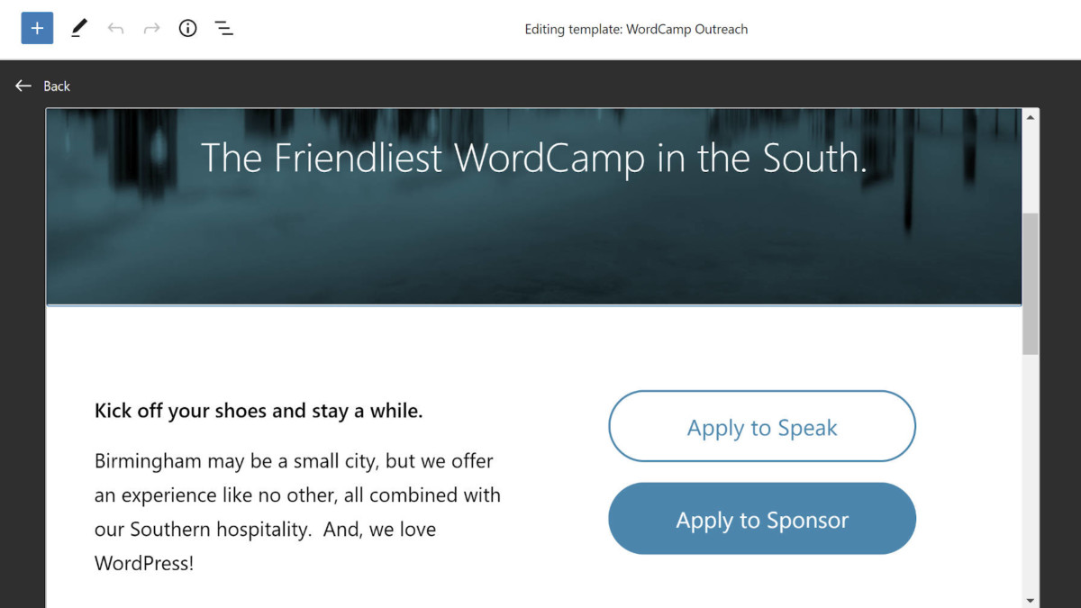fse-outreach-6-featured FSE Outreach Round #6: Building a WordCamp Landing Page via the Template Editor design tips