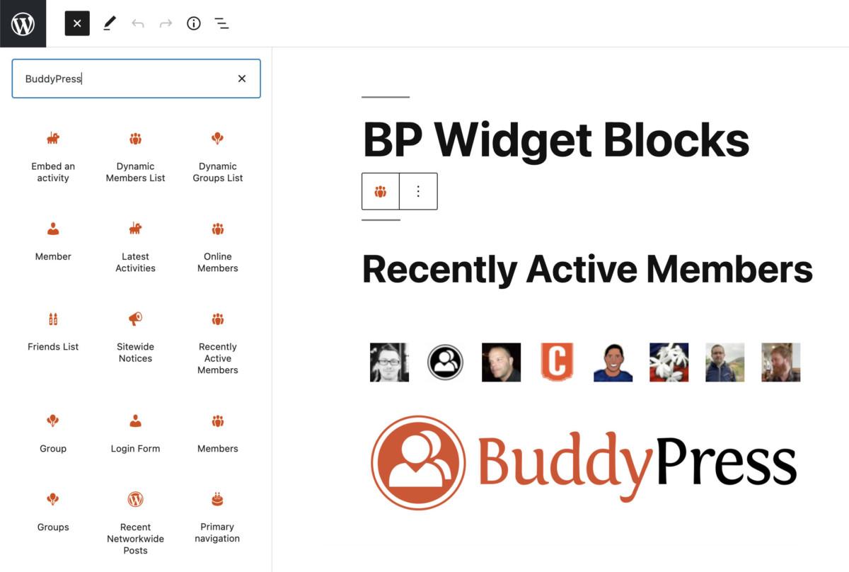 bp-widget-blocks BuddyPress 9.0.0 Transforms Legacy Widgets Into Blocks design tips