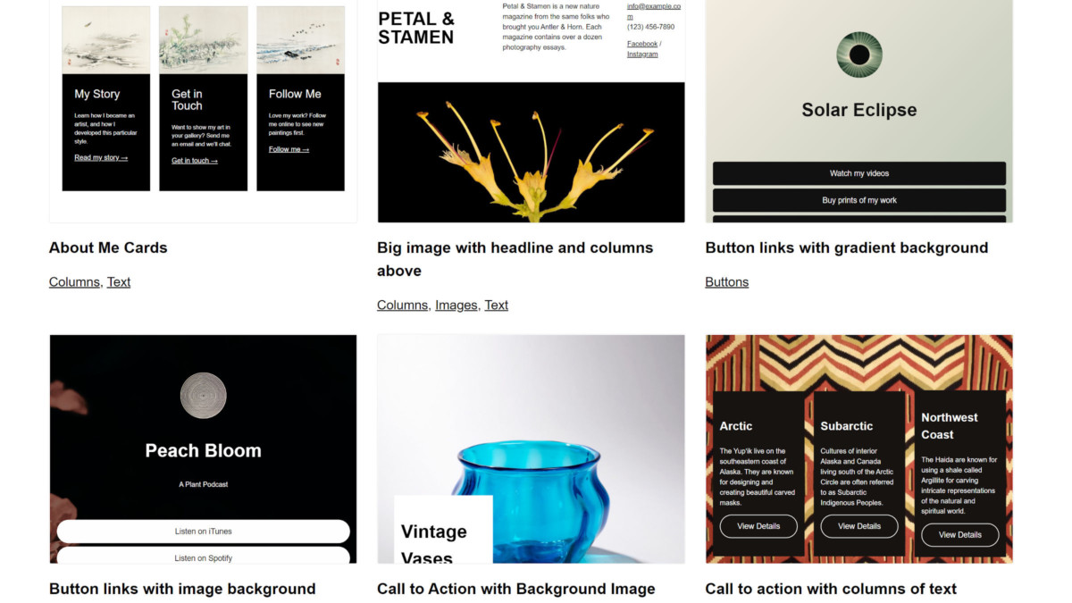 wp-block-patterns-featured Preview WordPress Block Pattern and Theme Combinations via New Site design tips